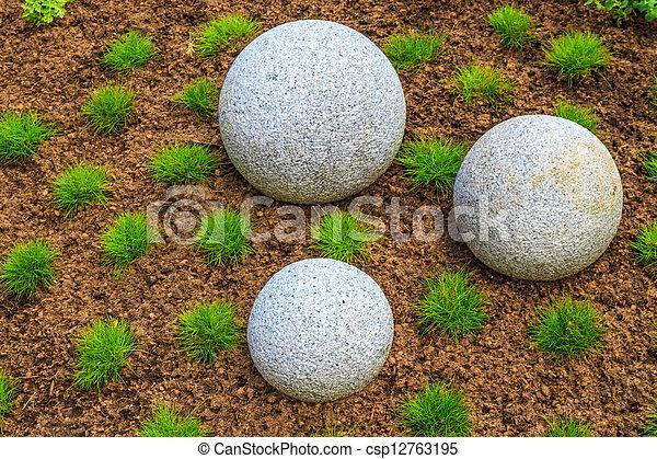 Steingarten, zen, japanisches , felsblöcke, granit.