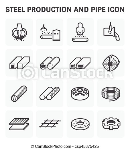 stel metal icon steel and metal production industry vector icon set