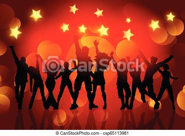 stelle, persone, ballo, silhouette, luci, bokeh, fondo, 1412 - csp65113981