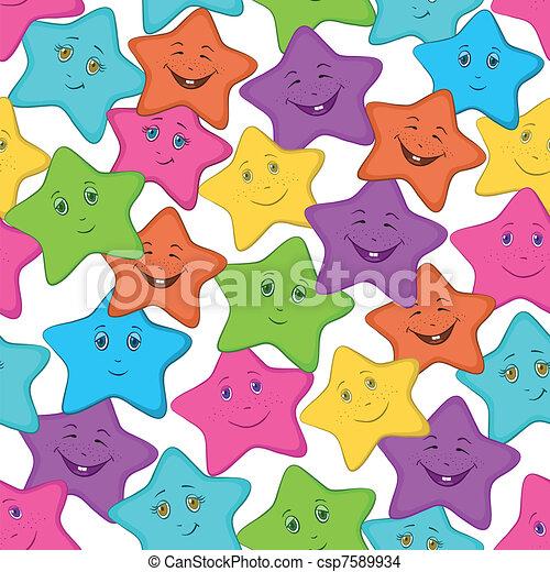 stelle, seamles, smilies - csp7589934