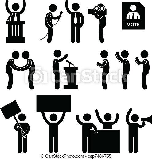 stem, politicus, verkiezing, reporter - csp7486755