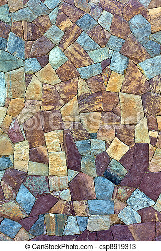 sten, gammal, färgad, vägg, mönster, återuppstå - csp8919313