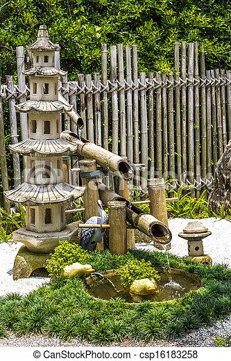 Icke gamla Sten trädgård, japansk, fontän, bambu, pagada. LO-17