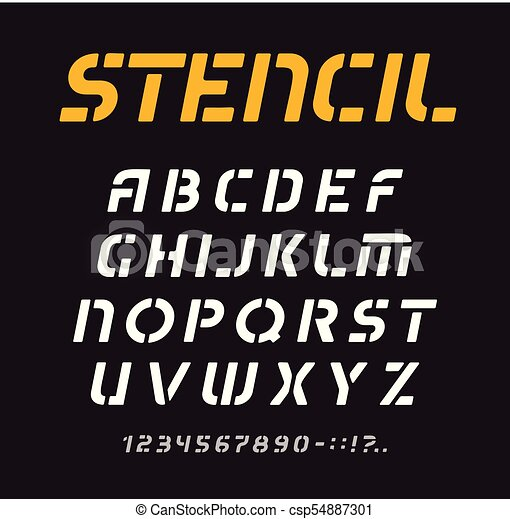 Stencil font, geometric alphabet, minimal letters collection, graffiti  typeface vector template