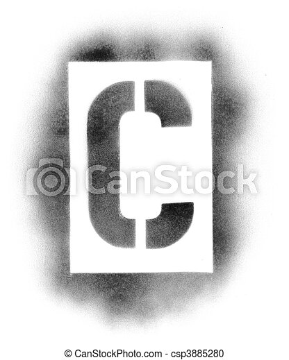 Stencil letters in spray paint - csp3885280