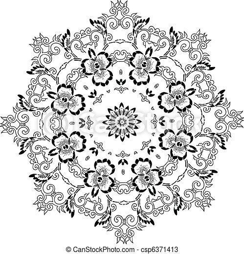 Stencil Mandala Indian Design  - csp6371413
