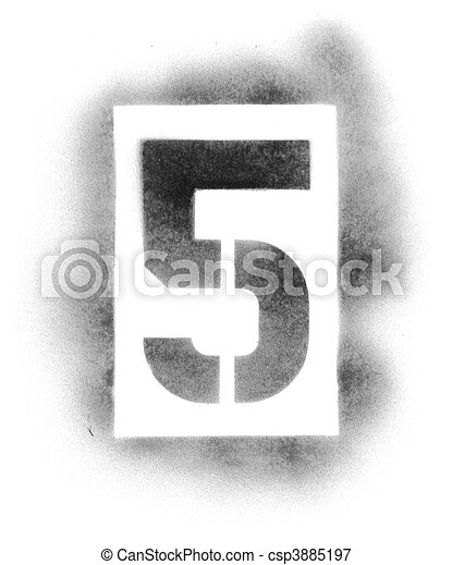 Stencil numbers in spray paint - csp3885197