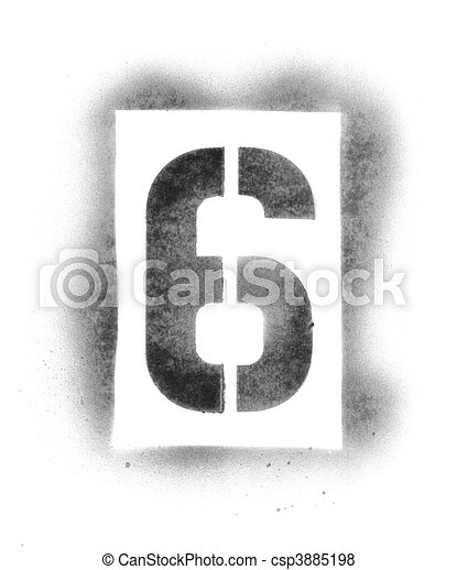 Stencil numbers in spray paint - csp3885198