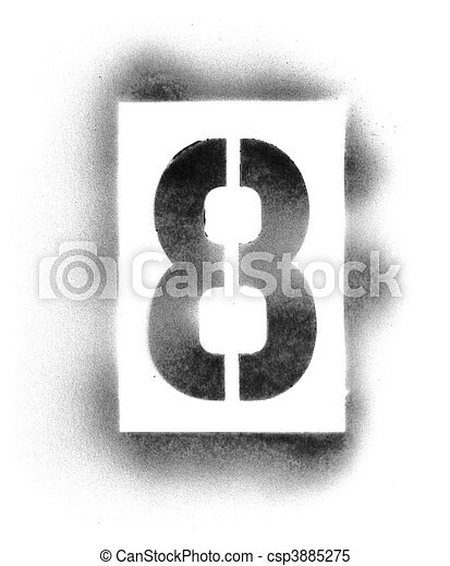 Stencil numbers in spray paint - csp3885275