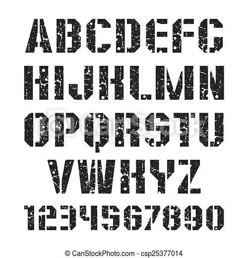 Stencil-plate font and numeral - csp25377014