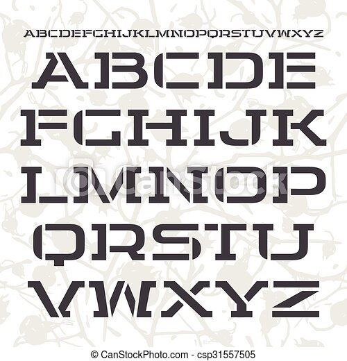Stencil Plate Font In Racing Style