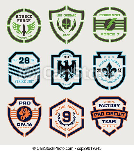 Stencil Shield Shapes Various Shaped Elements Eps Vector