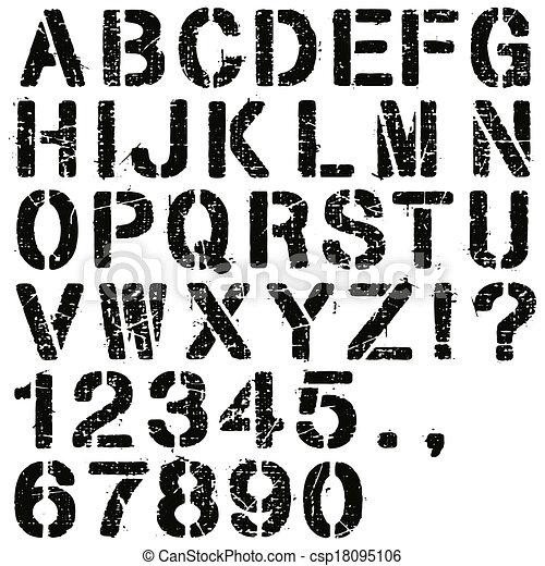 stencil, számok, irodalomtudomány - csp18095106