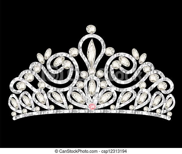 stenen, kroon, vrouwen, trouwfeest, witte , prinsessenkroon - csp12313194