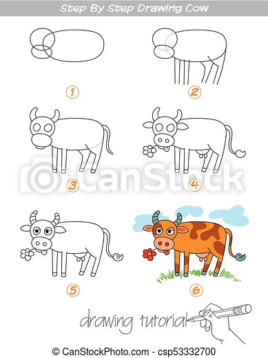 Drawing Tutorial Step By Step Drawing Cow Easy To Drawing Cow For
