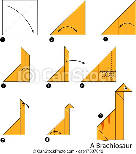 Step By Step Instructions How To Make An Origami A Dinosaur Toy