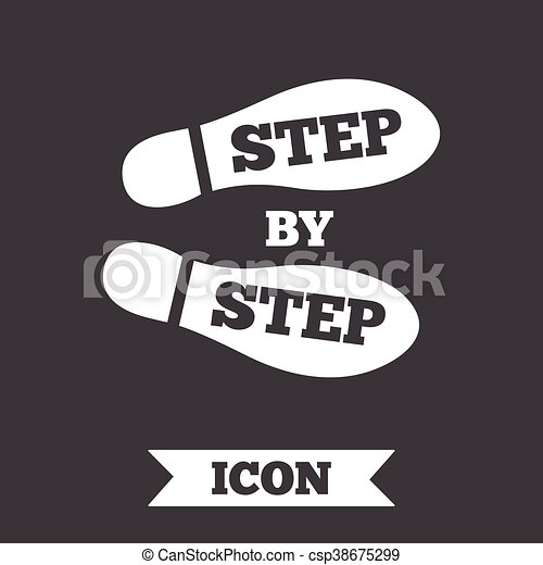 65de96c962 Step by step sign icon. footprint shoes symbol. graphic design ...