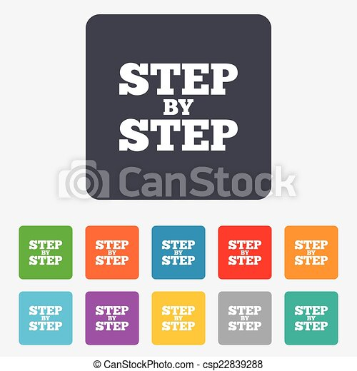 Step By Step Sign Icon Instructions Symbol Rounded Squares 11