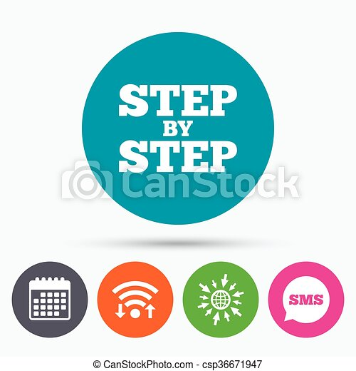 Wifi Sms And Calendar Icons Step By Step Sign Icon Instructions