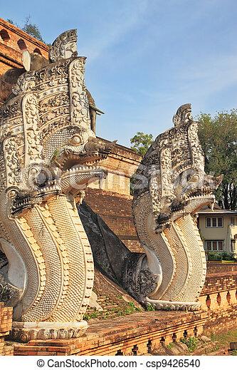 Step pyramid  ritual dragons protect - csp9426540