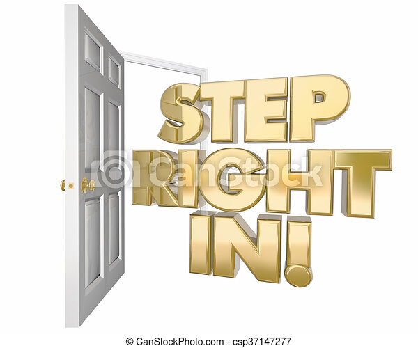Open door policy cartoon of teacher talking with students and step right in welcome invitation open door words 3d illustration stopboris Image collections
