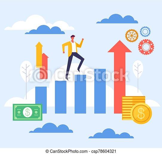 Step up success business concept. Vector flat graphic design illustration - csp78604321