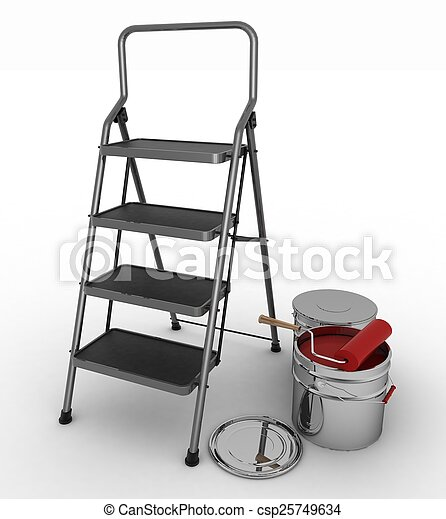 stepladder with jars from under a red paint on a white background - csp25749634