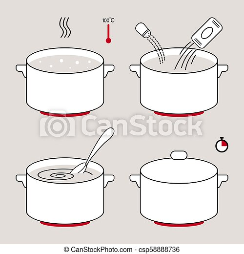 steps how to cook food spaghetti or porridge preparation