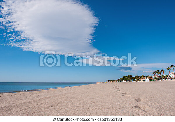 Steps in a sandy beach without people in Spain - csp81352133