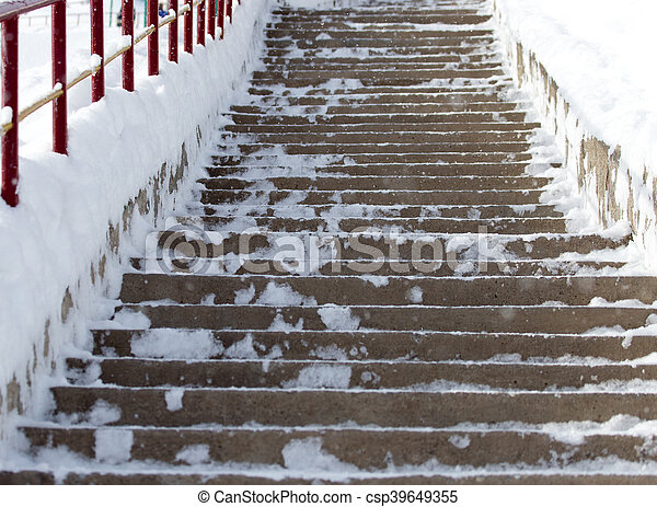 Steps in the snow - csp39649355