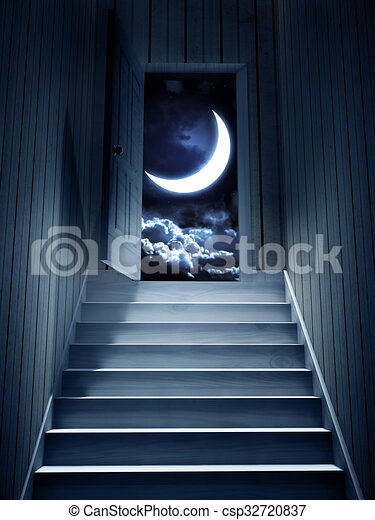 dark basement stairs. Steps Leading From A Dark Basement To Open The Door Stock Illustration leading from a dark basement to open the door  3d