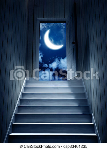 Steps leading from a dark basement to open the door 3d drawings