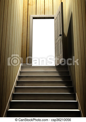 dark basement stairs. Steps Leading From A Dark Basement To Open The Door Stock Illustration leading from a dark basement to open the door  3d stock