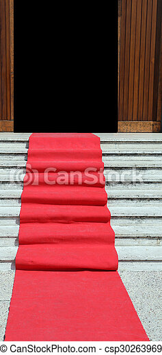 steps of the staircase with red carpet and door - csp30263969