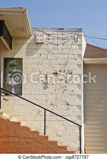 Steps on an Old Concrete Block Building - csp8727787