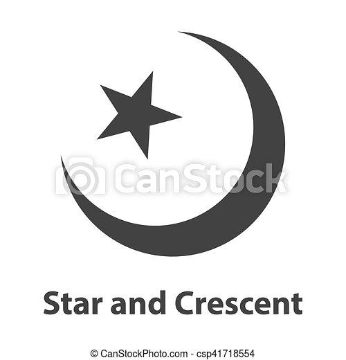 ster, symbool., meldingsbord, religie, halvemaan, pictogram, islam.