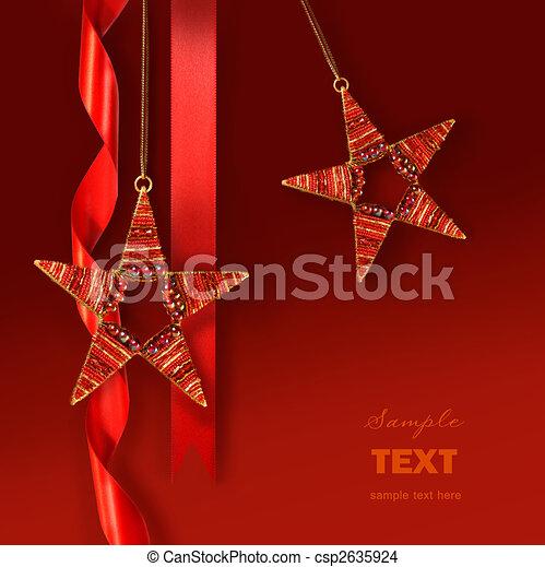 ster, versieringen, tegen, achtergrond, kerstmis, rood - csp2635924
