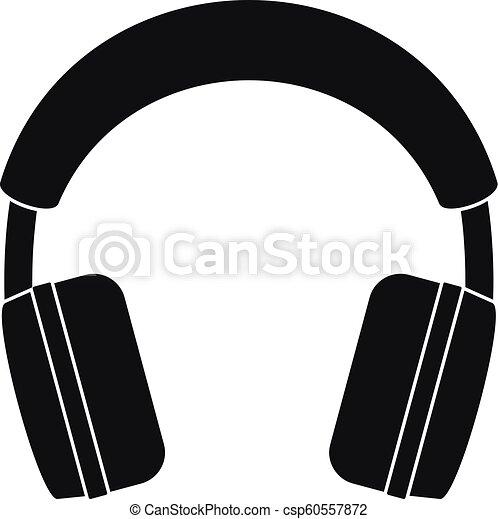 Stereo headphones icon, simple style