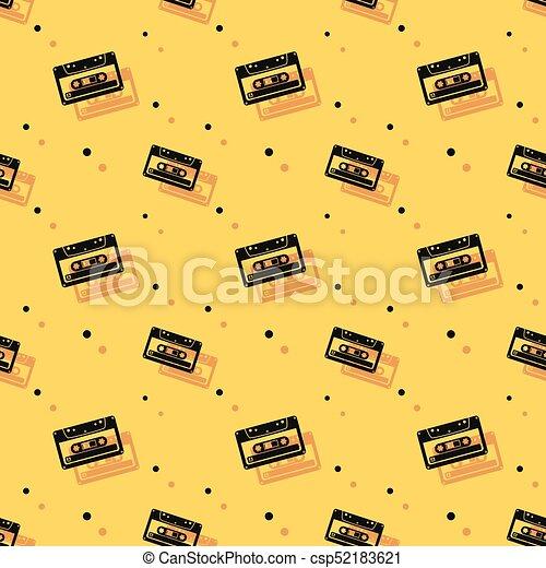 stereo, seamless, cassette, achtergrond, schaduw, audio - csp52183621