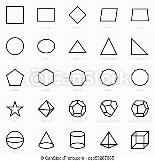 stereometric, planimetric, icônes, figures - csp53267365