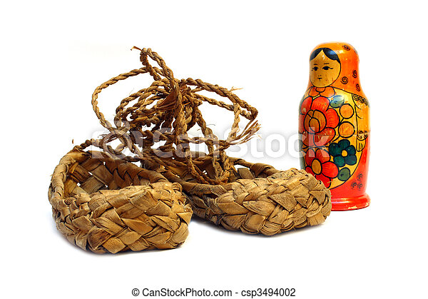 Stereotype Symbols Of Russia Bast Shoes And Matreshka