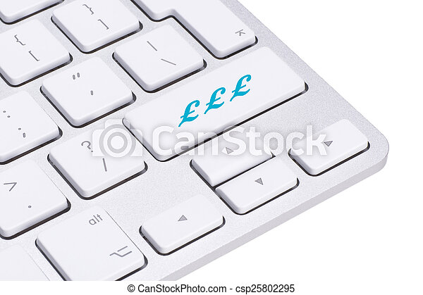 Sterling British Pound Sign Button On Keyboard Money Concept