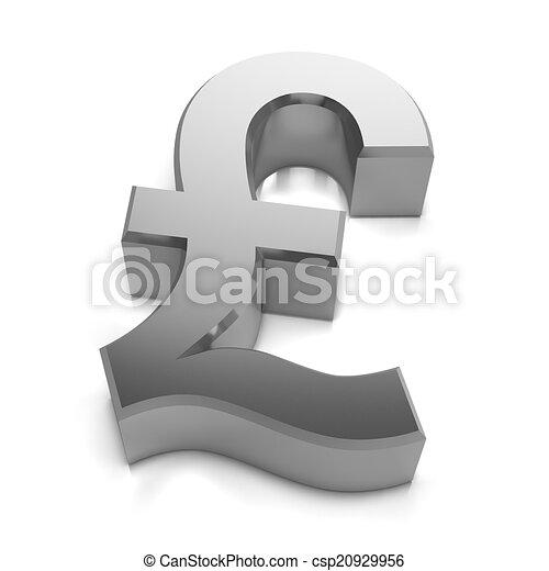 Sterling Livres Symbole Monnaie Royaume Uni Argent 3d