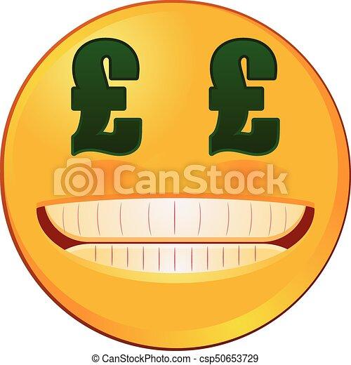 Sterling Yeux Britannique Signe Monnaie Vecteur Emoji