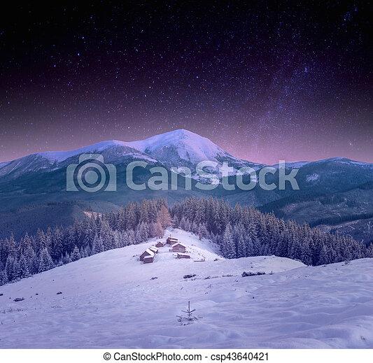 sternennacht, himmelsgewölbe, schnee, dorf, klein, carpathians - csp43640421