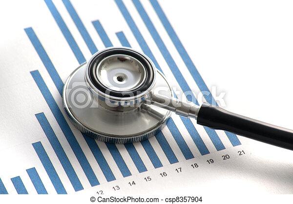 Stethoscop on a statistics graphic - csp8357904