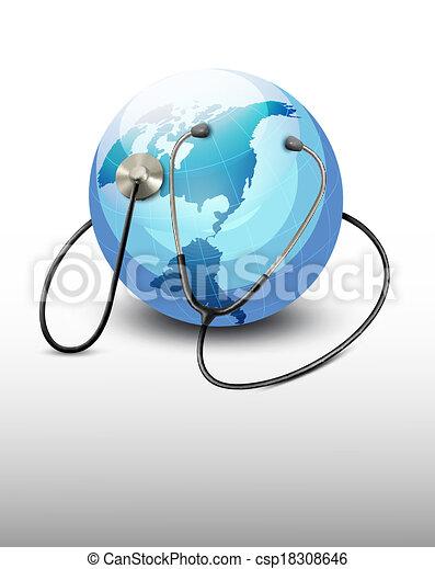 Stethoscope against a globe. Vector. - csp18308646