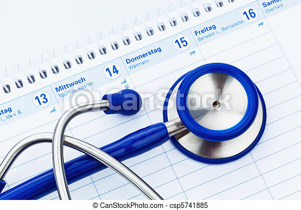 stethoscope and calendar medical appointment stethoscope and a