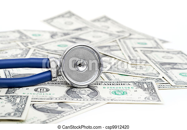Stethoscope and dollars illustrating expensive healthcare - csp9912420
