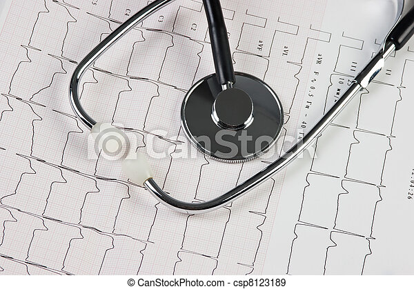 stethoscope and electrocardiogram - csp8123189